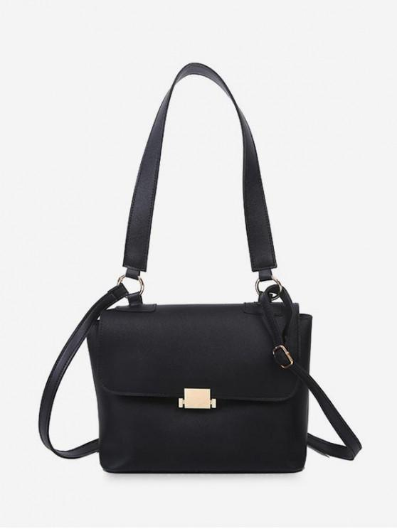 outfit Top Handle Flap Crossbody Bag - BLACK