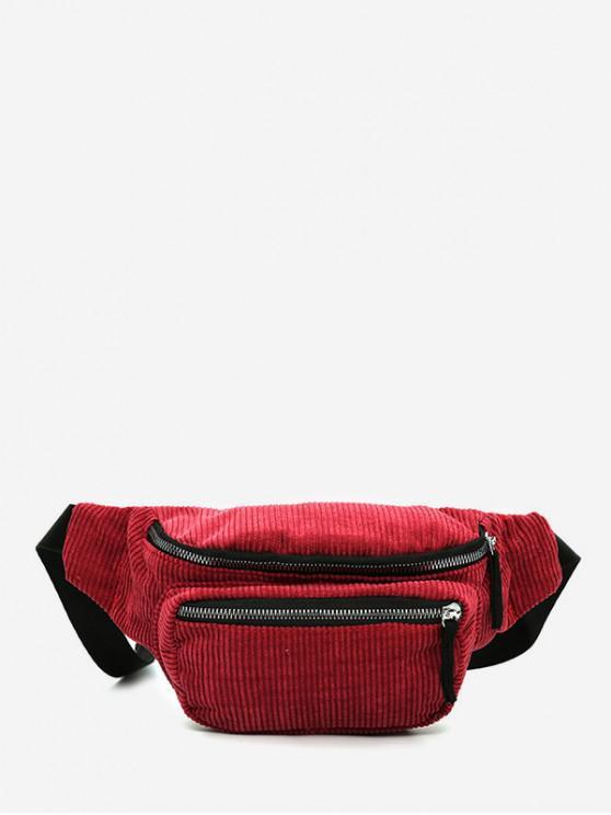latest Plain Corduroy Causal Waist Bag - CHERRY RED