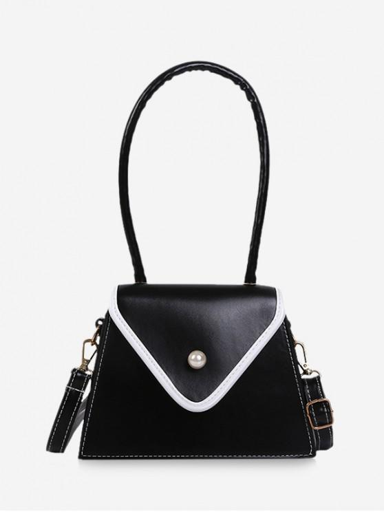 women Faux Pearl Contrast Piped Flap Handbag - BLACK