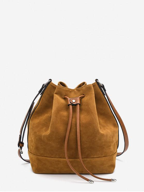 字符串人造毛皮桶肩包 - 棕色