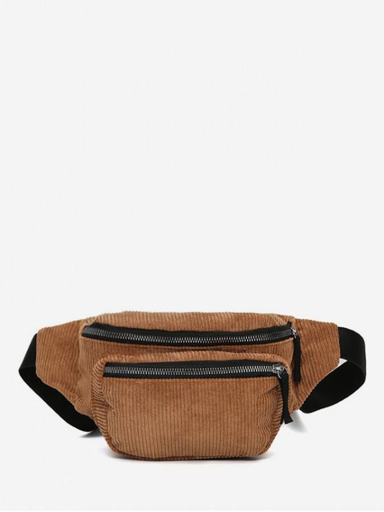 lady Plain Corduroy Causal Waist Bag - LIGHT BROWN