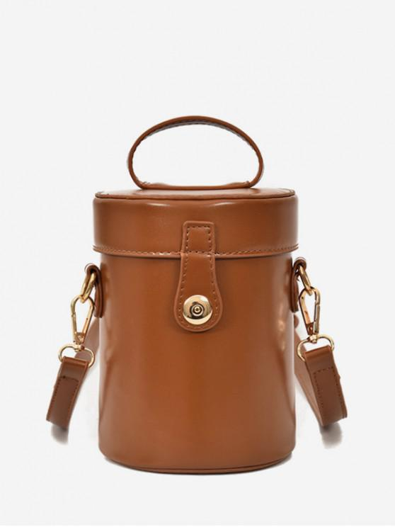 best Top Handle PU Leather Cylinder Bag - LIGHT BROWN