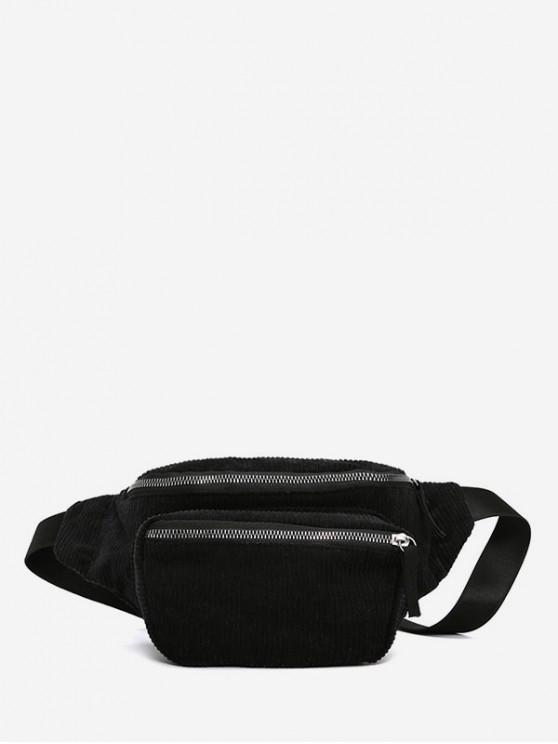 new Plain Corduroy Causal Waist Bag - BLACK
