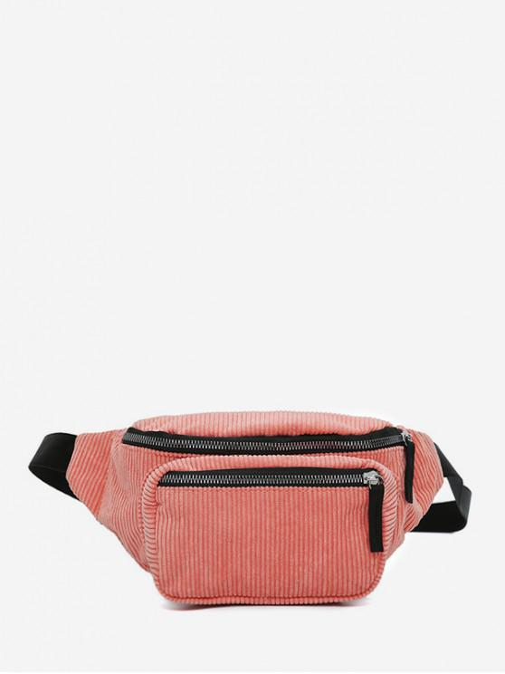 hot Plain Corduroy Causal Waist Bag - LIGHT CORAL