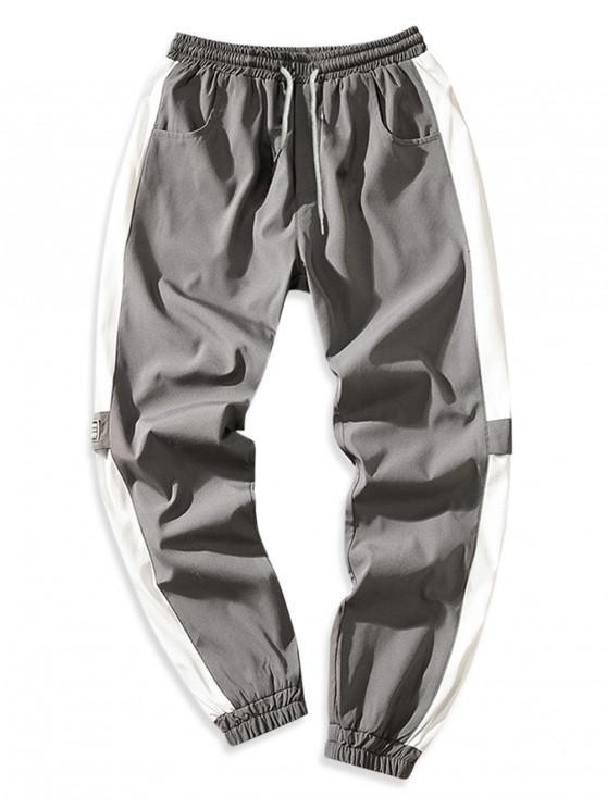 Pantalones de chándal con múltiples bolsillos y empalmes de bloques de colores - Gris XL