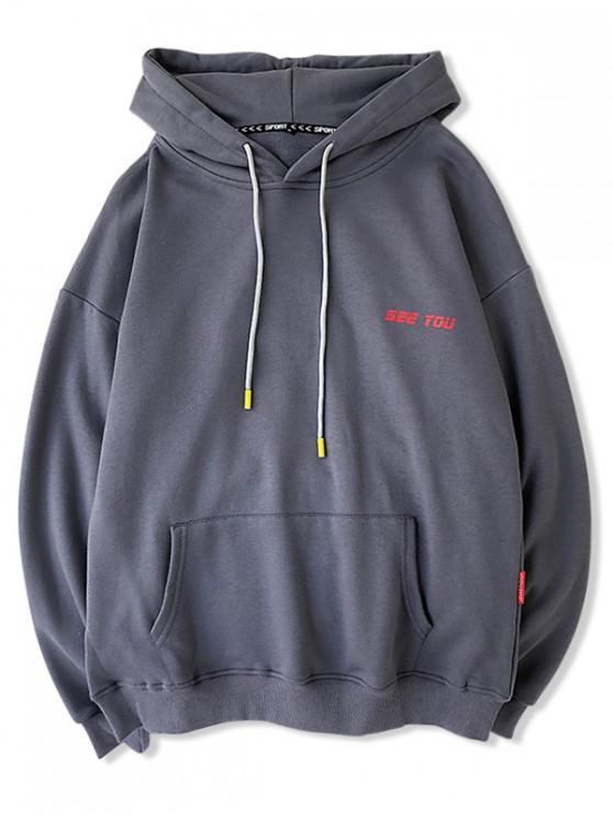 Patrón de la letra ocasional con capucha con cordón - Gris Oscuro L