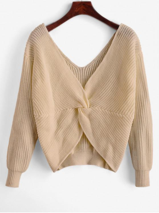 outfit ZAFUL x Yasmine Bateman Twisted Plunging Drop Shoulder Jumper Sweater - LIGHT KHAKI M