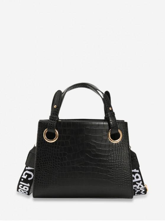 chic Animal Embossed Letter Strap Crossbody Bag - BLACK