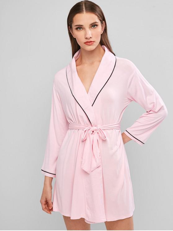 women's Contrast Binding Shawl Collar Wrap Robe - PINK ONE SIZE