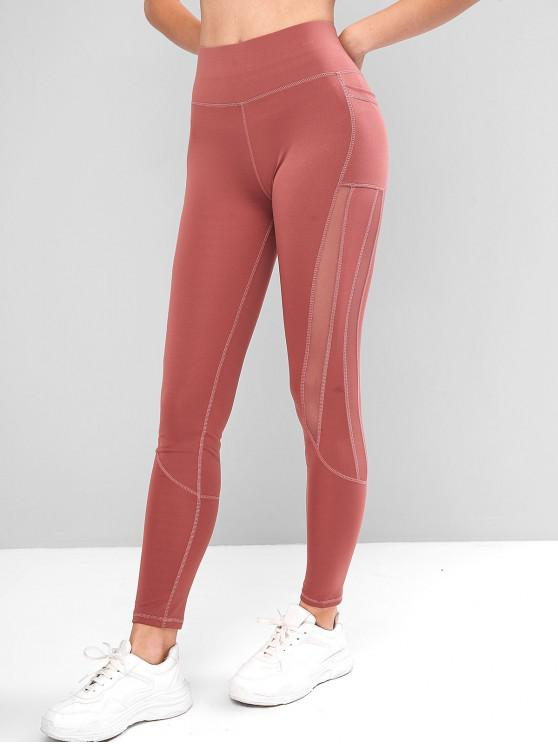 shop Side Pockets Mesh Insert High Waisted Leggings - LIPSTICK PINK S