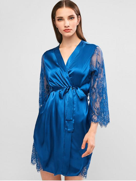 زهرة الحرير الرباط رداء مربوط - ازرق غامق M