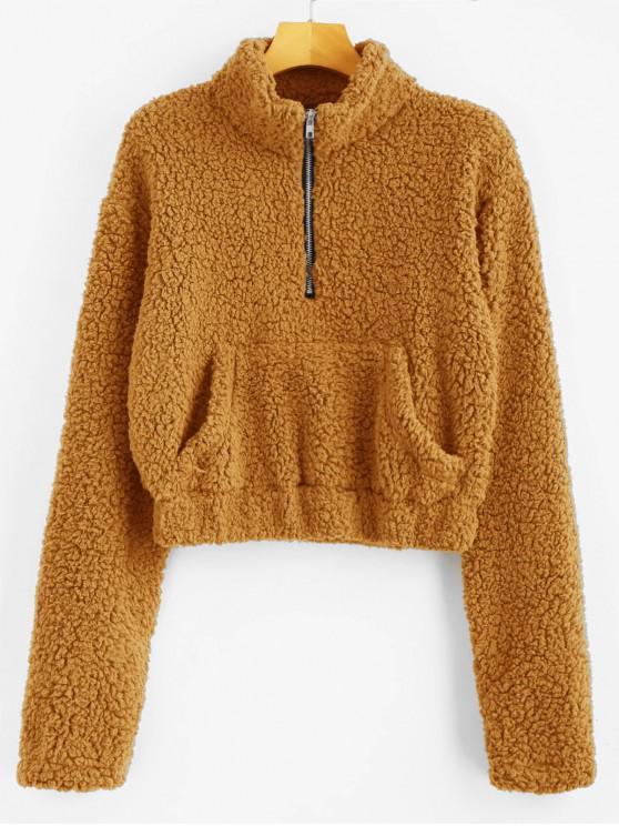 shop Half Zip Fluffy Faux Shearling Teddy Sweatshirt - YELLOW L