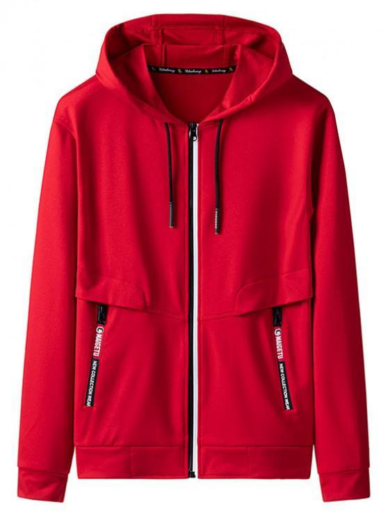 Zip Up bolsillo de la decoración chaqueta con capucha - Rojo L