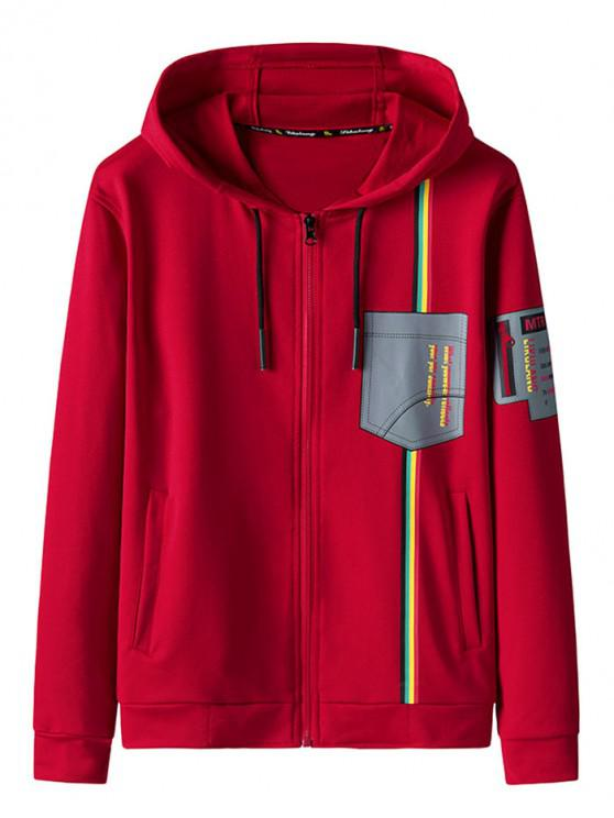 women Graphic Print Zip Up Hooded Jacket - RED L