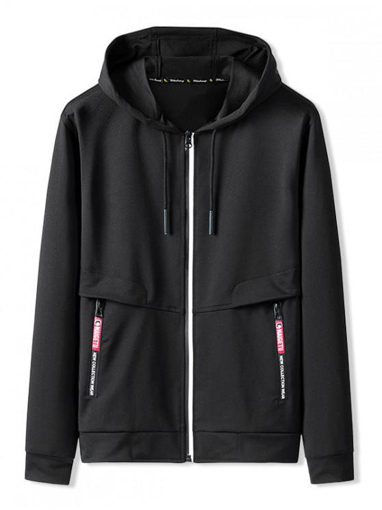best Zip Up Pocket Decoration Hooded Jacket - BLACK L