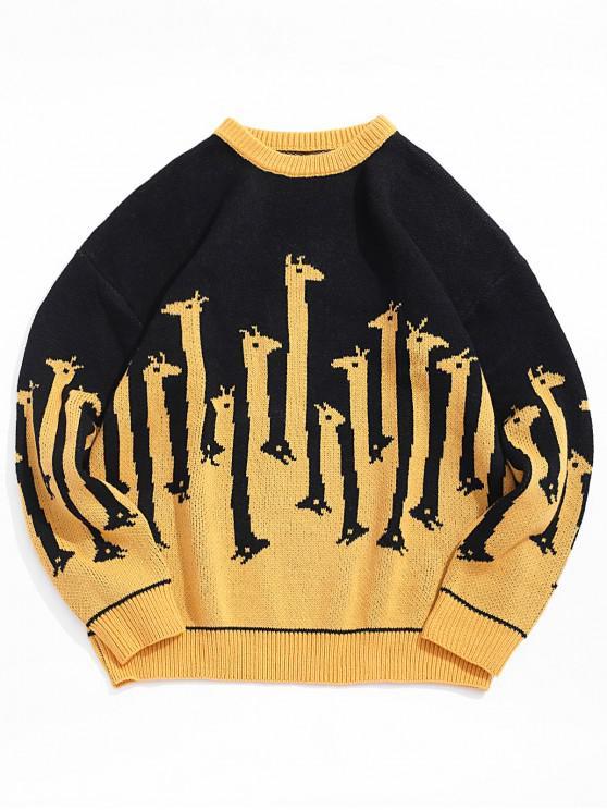 Giraffenmuster Rundhals Pullover - Biene Gelb L