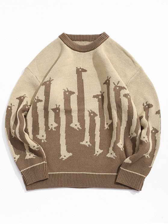 chic Giraffe Pattern Round Neck Sweater - COFFEE 2XL