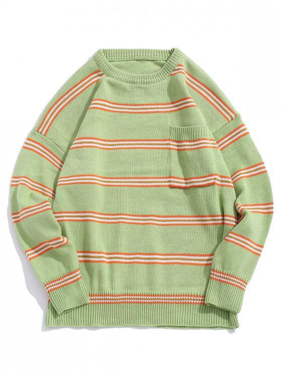 ストライプ柄のポケット装飾カジュアルセーター - グリーンピース L