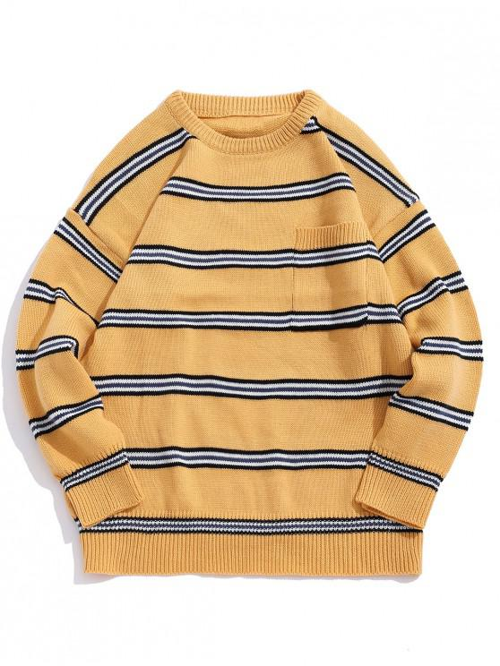 chic Striped Pattern Pocket Decorated Casual Sweater - YELLOW L