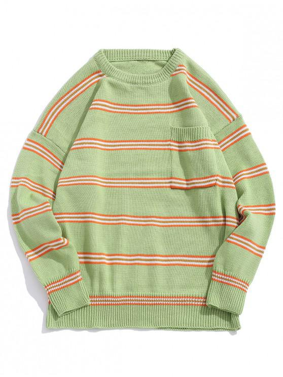 women Striped Pattern Pocket Decorated Casual Sweater - GREEN PEAS M
