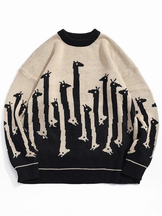 ladies Giraffe Pattern Round Neck Sweater - BLACK XL