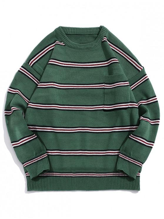 lady Striped Pattern Pocket Decorated Casual Sweater - DEEP GREEN XL