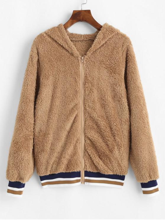 women's Faux Fur Hooded Striped Zipper Coat - BROWN L
