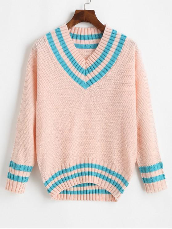 Striped V Neck Picătură Umăr Jumper Sweater - Roz O marime