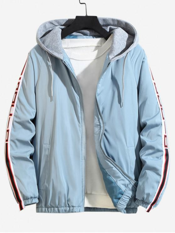 shop Color Spliced Hooded Casual Jacket - LIGHT BLUE 4XL