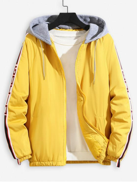 sale Color Spliced Hooded Casual Jacket - YELLOW L
