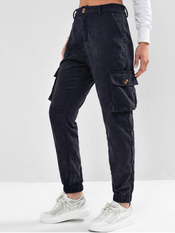 women's ZAFUL High Waisted Flap Pockets Corduroy Jogger Pants - MIDNIGHT BLUE S