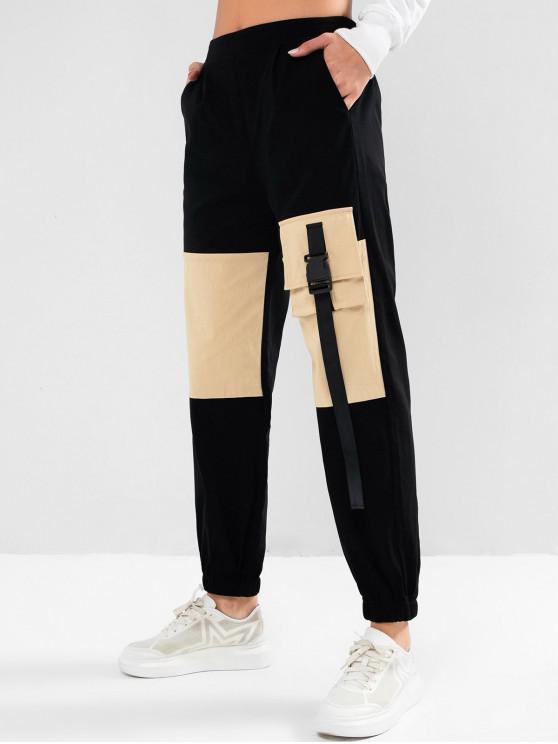 ladies ZAFUL Push Buckle Colorblock Cargo Jogger Pants - BLACK XL