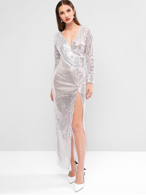閃閃發光的亮片高的縱切晚禮服 - 銀 M