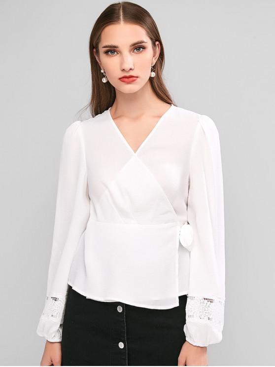 shops ZAFUL Lace Insert Lantern Sleeve Wrap Blouse - WHITE M