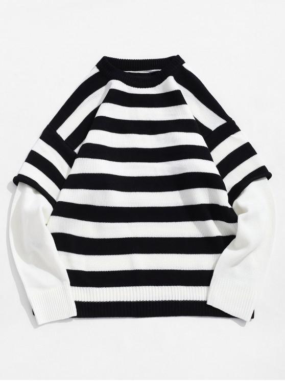 fancy Color Spliced Striped Pattern Round Neck Sweater - BLACK M
