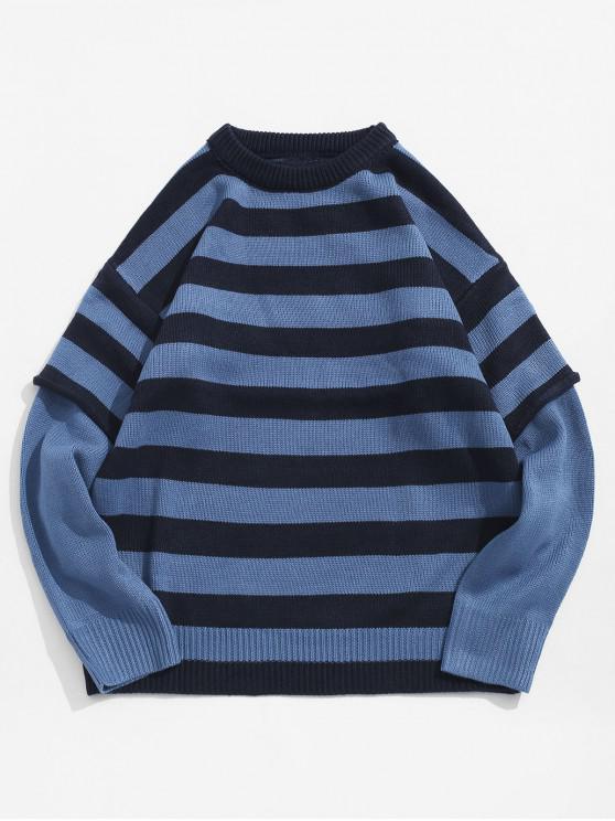 women's Color Spliced Striped Pattern Round Neck Sweater - BLUE XL