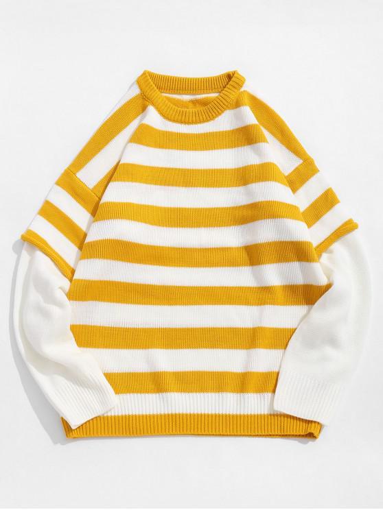 Culoare înnădite Striped model rotund gât pulover - Galben 2XL