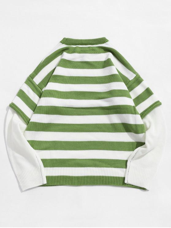ladies Color Spliced Striped Pattern Round Neck Sweater - YELLOW GREEN 2XL