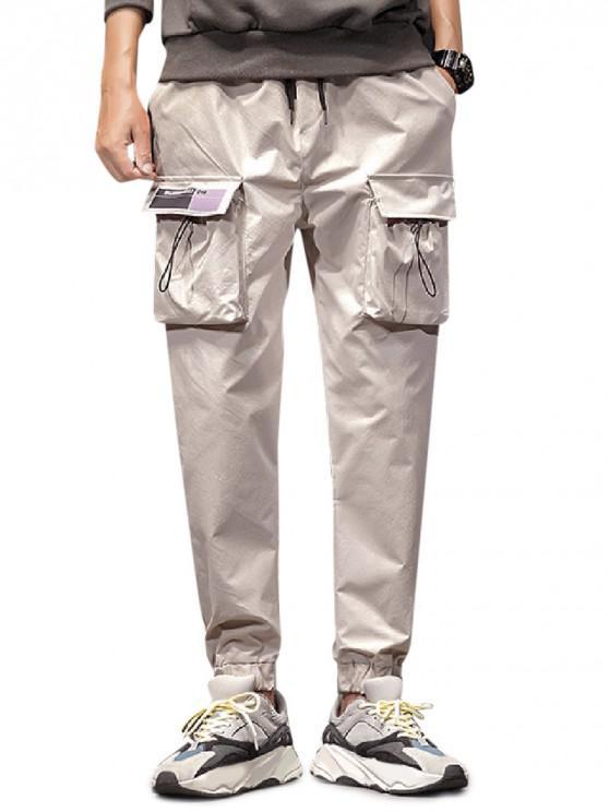 new Solid Toggle Flap Pocket Drawstring Jogger Pants - LIGHT GRAY XS