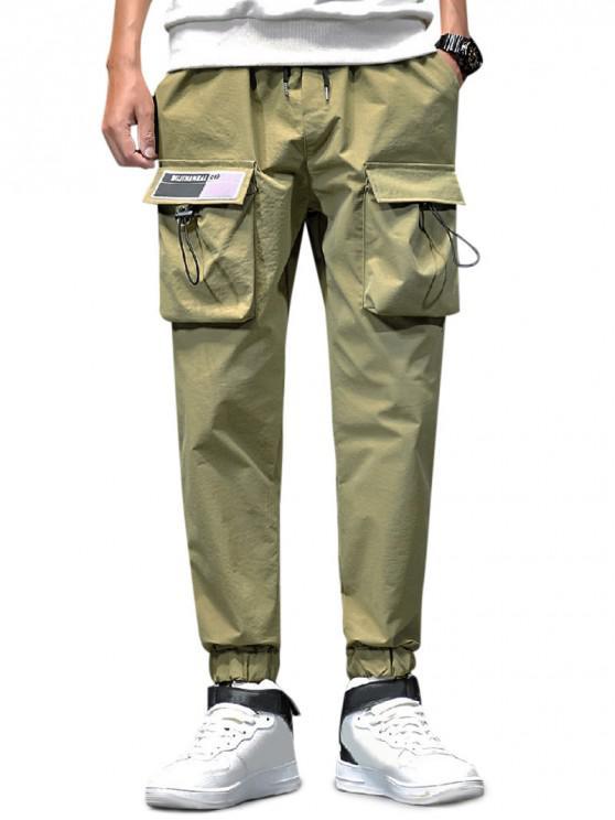 lady Solid Toggle Flap Pocket Drawstring Jogger Pants - ARMY GREEN XL