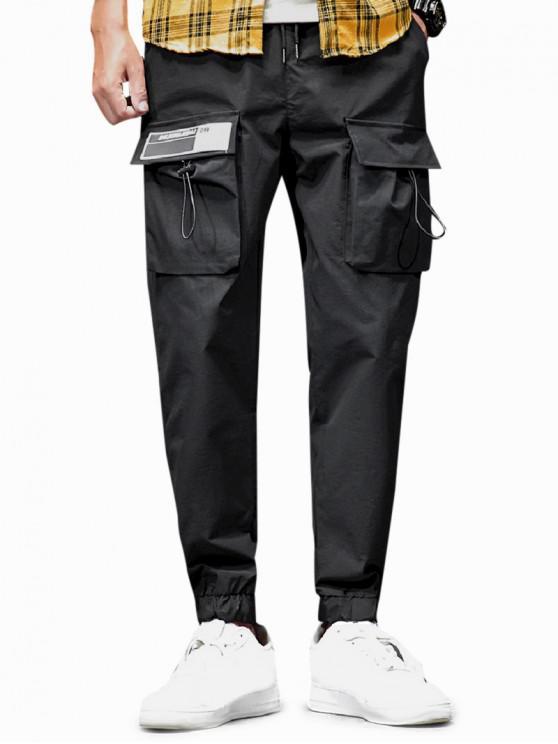 fashion Solid Toggle Flap Pocket Drawstring Jogger Pants - BLACK XL