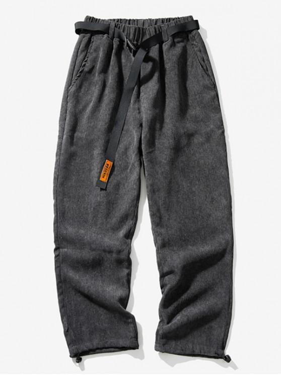 Calças Cor cintura elástica lazer sólidos - Cinzento Escuro 4XL