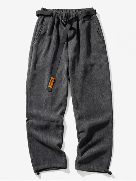 Pantaloni Culoare elastic talie pentru petrecerea timpului liber Solid - Gri închis XL