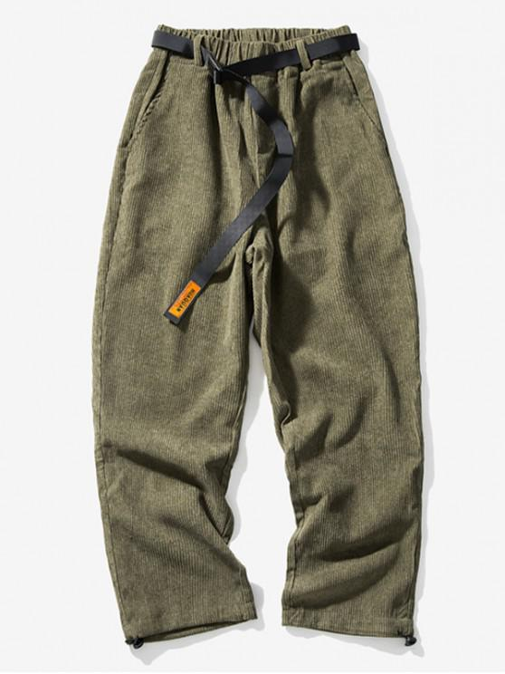 chic Solid Color Elastic Waist Leisure Pants - ARMY GREEN 4XL