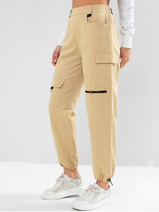 trendy ZAFUL D Ring High Waisted Cargo Jogger Pants - LIGHT KHAKI XL
