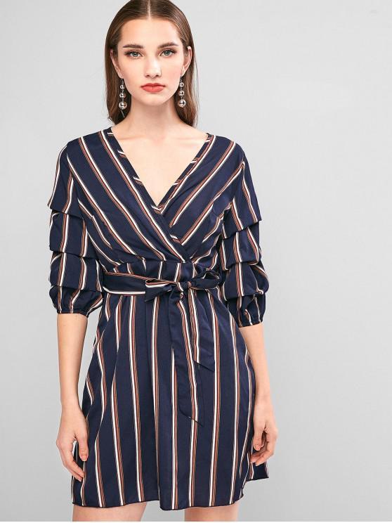 womens ZAFUL Striped V Neck Belted Flare Dress - CADETBLUE S