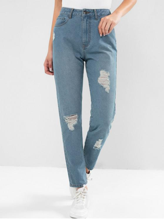 lady ZAFUL Distressed High Waisted Tapered Jeans - JEANS BLUE L