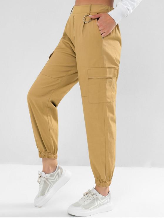 shops ZAFUL Pockets Solid Jogger Pants - TAN XL