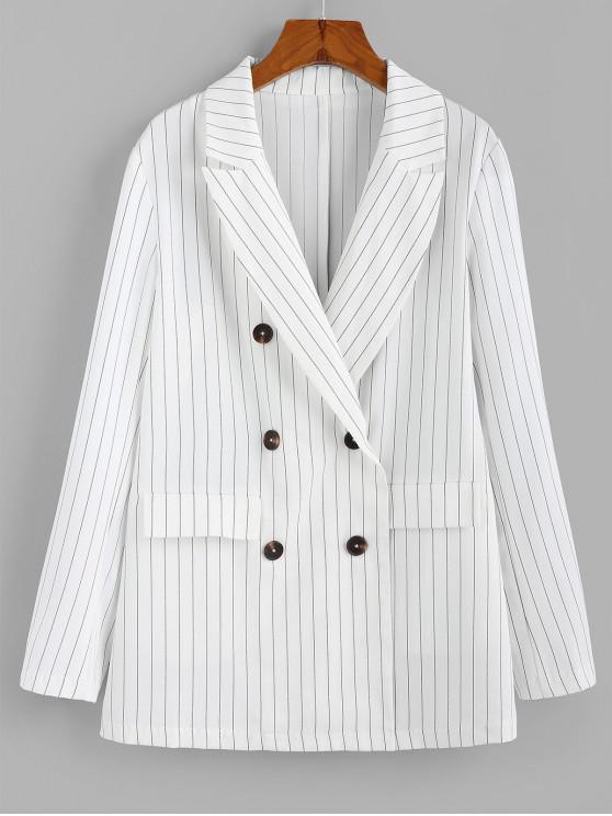 new ZAFUL Striped Double Breasted Lapel Work Blazer - MILK WHITE XL