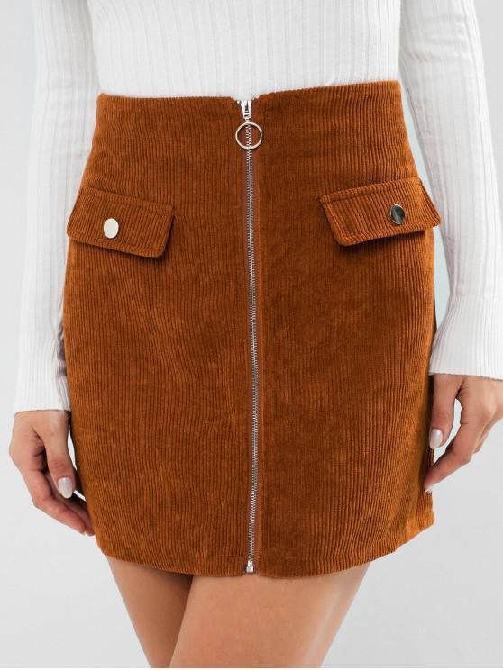 affordable ZAFUL Corduroy Zipper Front Mini Skirt - LIGHT BROWN XL